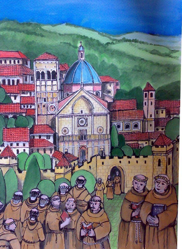 Antonio incontra Francesco alla Porziuncola ai piedi di Assisi dopo un viaggio a piedi di seicento chilometri