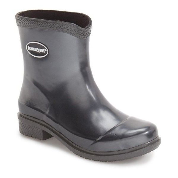 Women's Havaianas 'Galochas Low Metallic' Waterproof Rain Boot (580 NOK) ❤ liked on Polyvore featuring shoes, boots, dark grey metallic, print rain boots, havaianas shoes, dark grey boots, waterproof wellington boots and wellington boots