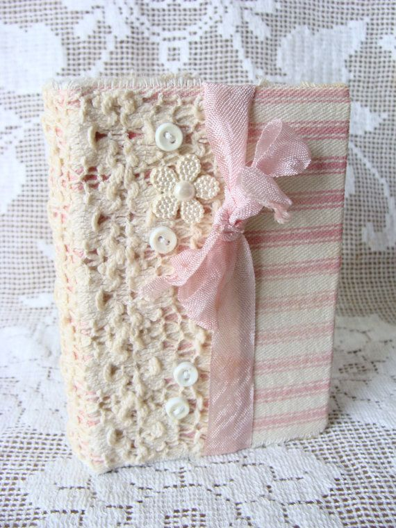 Shabby Vintage Inspired Lace and Pink Ticking Fabric Journal Diary NoteBook Hard…