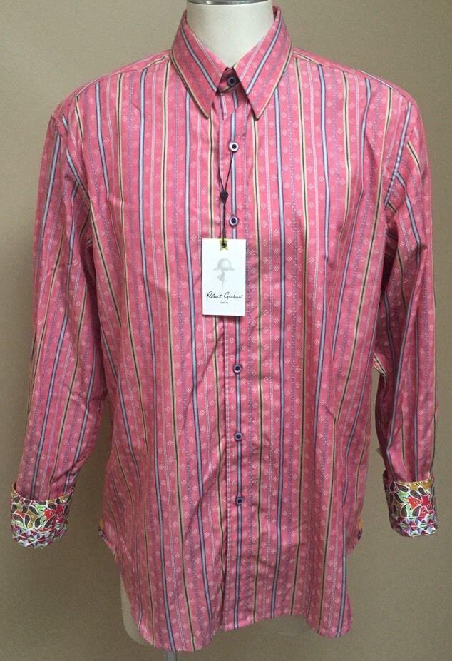 "NWT Robert Graham Men's Red ""Gainer"" Paisley Flip Cuff Sport Shirt Large $178 | eBay"