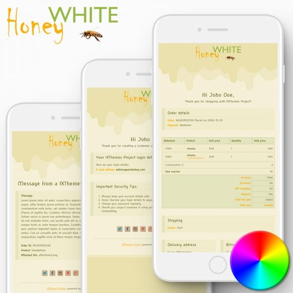 WHITE HONEY PrestaShop Email Templates