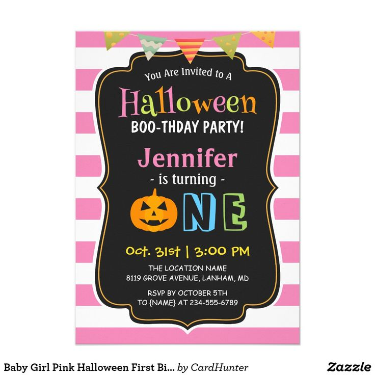"""Baby Girl Pink Halloween First Birthday Party Card ================= ABOUT THIS DESIGN =================   Baby Girl Pink Halloween First Birthday Party Invitation.   (1) For further customization, please click the """"Customize it"""" button and use our design tool to modify this template. Background color, and text style/colors/sizes can be modified to fit your needs. Additionally, you are able to add your baby's photo(s) on the backside.  (2) If you prefer thicker papers, you may consider to…"""