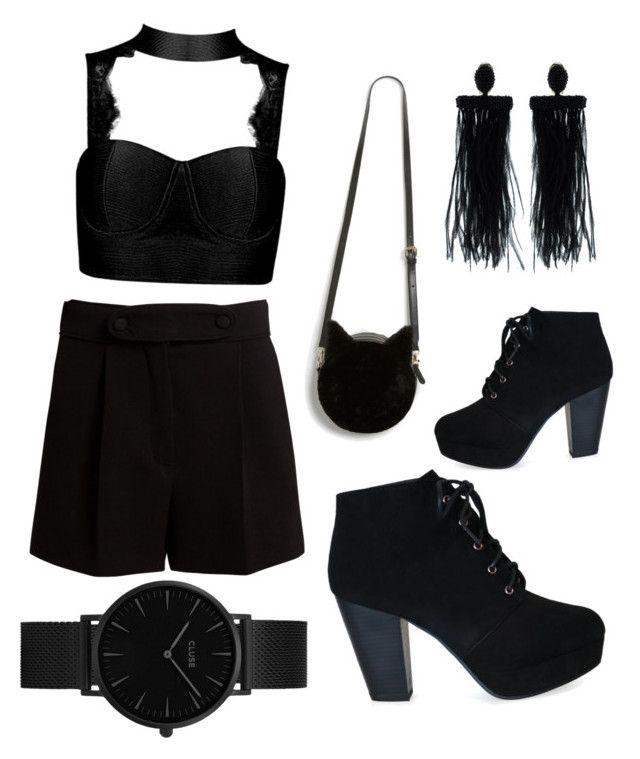 """All Black #1"" by tripti917 on Polyvore featuring Valentino, Monki, Oscar de la Renta and CLUSE"