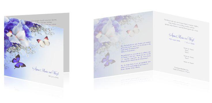 #Prachtige #rouwkaart met een #roze en #paarse #vlinder. Wist u dat u kunt alle ontwerpen naar uw zin kunt aanpassen? U kunt ook eigen foto's toevoegen, items weglaten, kleuren aanpassen... We denken graag met u mee. Mailt of belt u ons voor persoonlijk advies via info@daglief.nl of 010 511 33 40 (tijdens kantooruren).