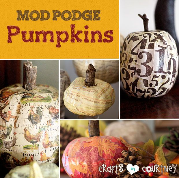 """I love the Fall season and how it makes me feel. Get that Autumn feeling with this Mod Podge pumpkin decorating craft. Your home will """"thank you"""" for it!"""