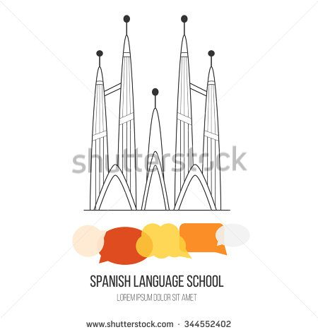 #Logo for #spanish #language #school with #church in #Barcelona and speech bubbles in #Spanish #flag color. Made in #vector. Easy to edit. #Line #vector