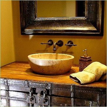 like: Bathroom Design, Old Trunks, Rustic Bathroom, Bathroom Vanities, Bathroom Mirror, Bathroom Ideas, Bathroom Decor, Rustic Wood, Powder Rooms