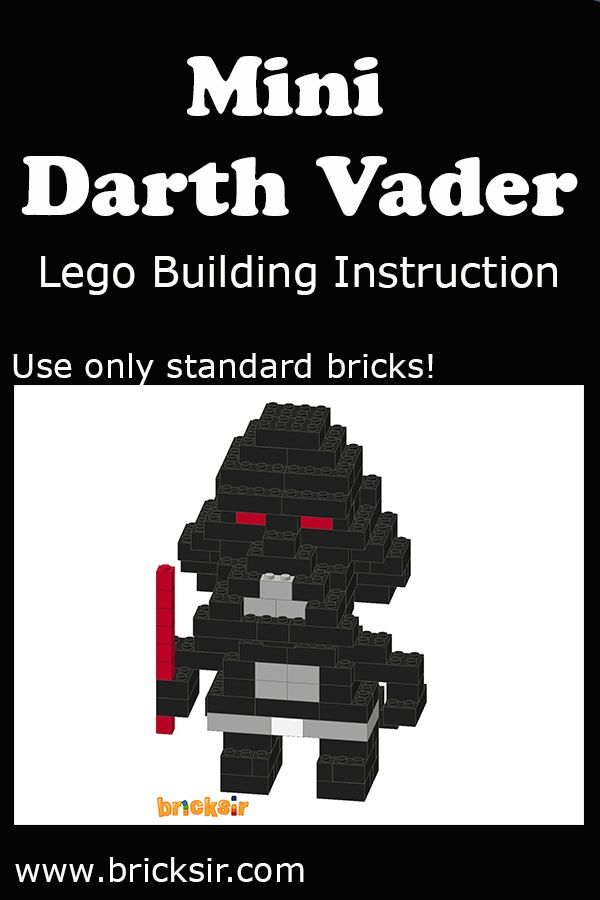 Love Star Wars? Build Mini Darth Vader Lego using our Lego Building Instructions, using only standard bricks! Available for iPhone and iPad. Free download at appsto.re/us/WRyX6.i #bricksir #lego #kidsactivities #homeschool www.bricksir.com