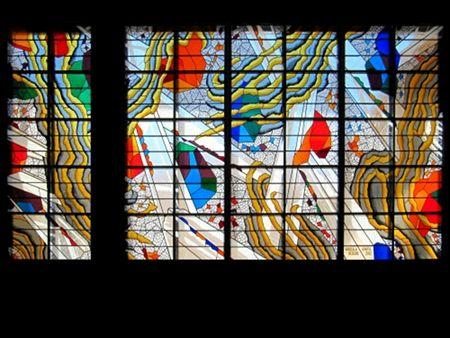 Grand vitrail pour l'Office du Tourisme de la ville d'Agde. Vitrail au plomb avec peinture sur verre et gravure. Carlo Roccella