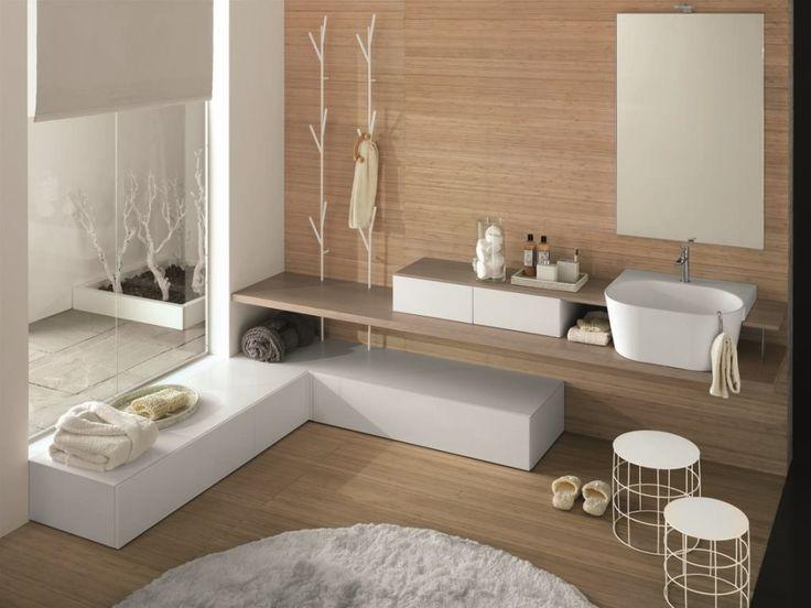 Comp C 01 cm 280 x 52 top rovere ecru, laccato bianco opaco lavabo Teknorit bianco