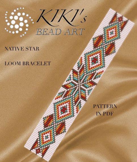 Perle à tisser motif - Native star - métier à tisser bracelet modèle au format PDF - téléchargement immédiat