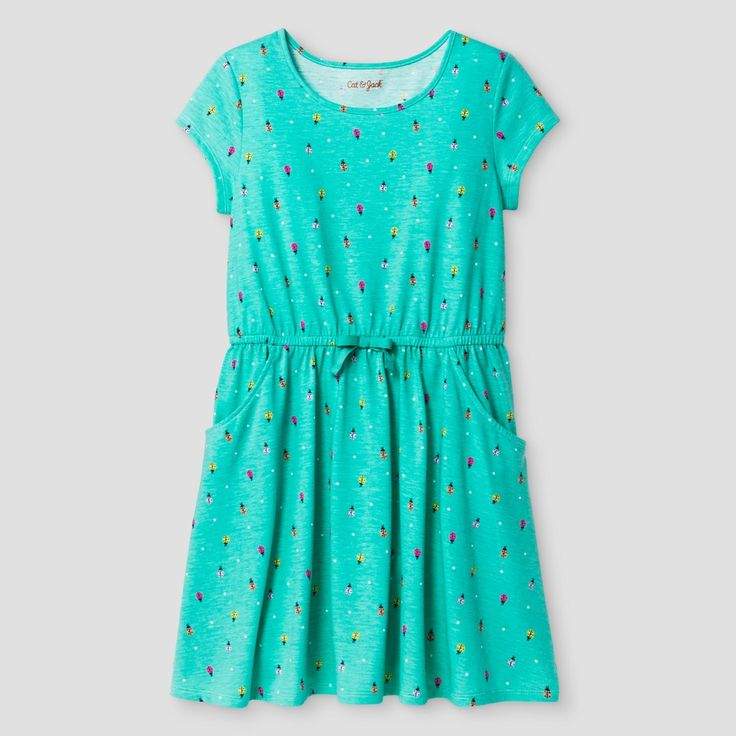 Girls' Bug Print Dress Cat & Jack - Green XL Plus