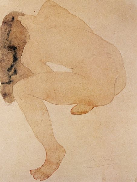 Seated nude bending over, by Auguste Rodin (1840-1917).