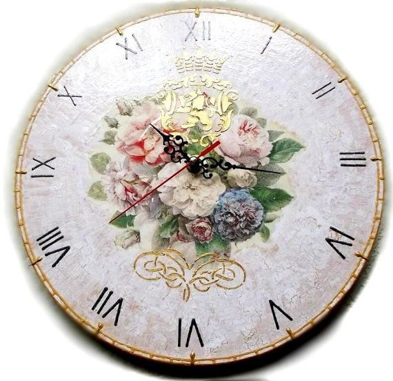 """Royal Roses - Decoupage Antique Wall Clock on vinyl record 12,5 """" (30 cm) craquelure shabby  flowers vintage victorian style beautiful gift"""
