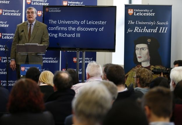 """In a media conference today, University of Leicester scientists identified the remains as those of King Richard III """"beyond reasonable doubt."""""""