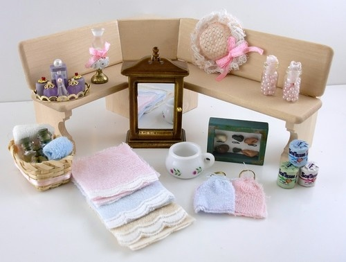 Dolls House Bathroom Accessory Set Perfume Towels Cabinet Toilet Roll Etc.  | EBay