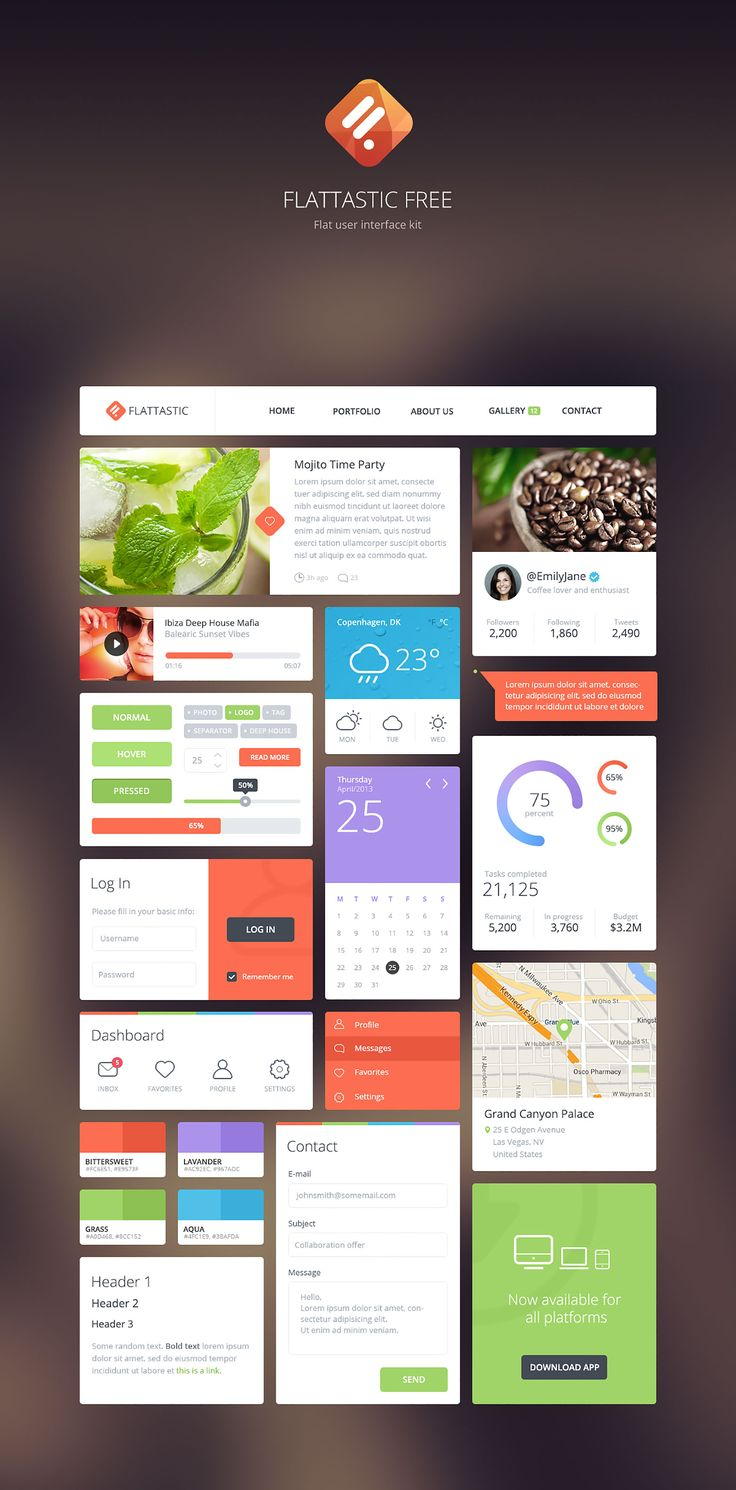 14 Free App and Web Design GUI Kits