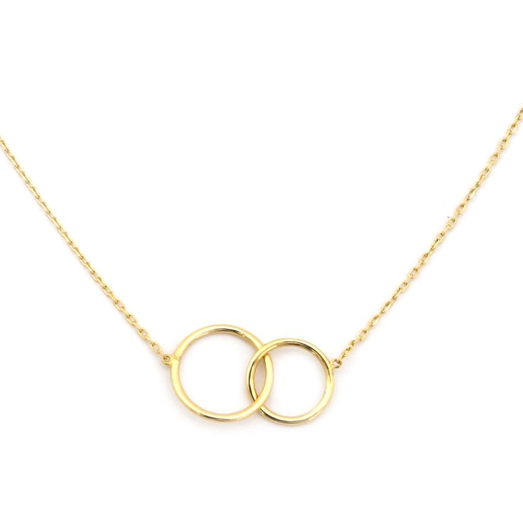 "14k Yellow Gold Tiny Delicate Interlocking Circles 16"" Necklace"