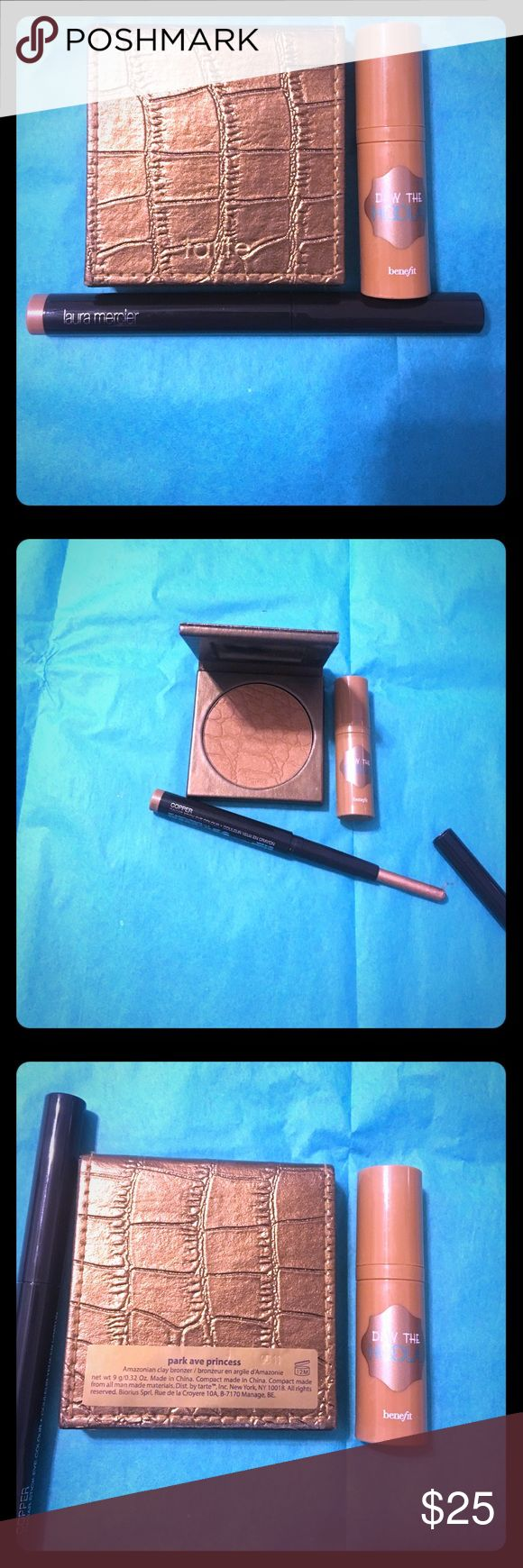 Bronze bundle Full size Tarte park avenue princess bronzer , mini benefit hula liquid bronzer and full size Cooper Laura mercier caviar stick eye color . All barely swatched Makeup