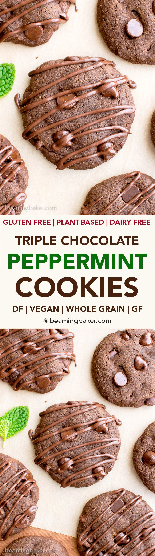 Vegan Triple Chocolate Peppermint Cookies (V, GF, DF): an easy recipe ...