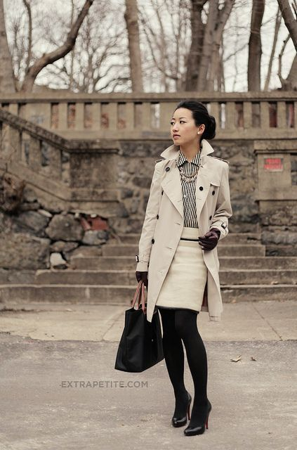 Black tights and shoes with a winter white skirt is my new fave combination!