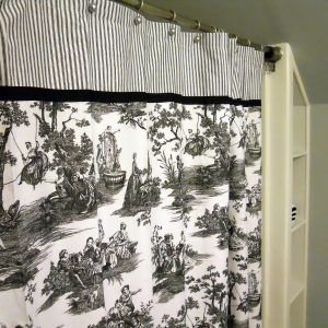 Black Toile Fabric Shower Curtain