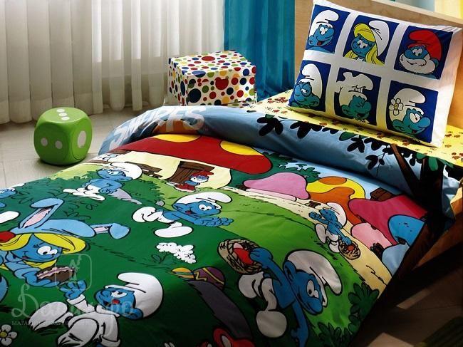 Детское постельное белье SIRINLER СМУРФИКИ от производителя Tac (Турция)