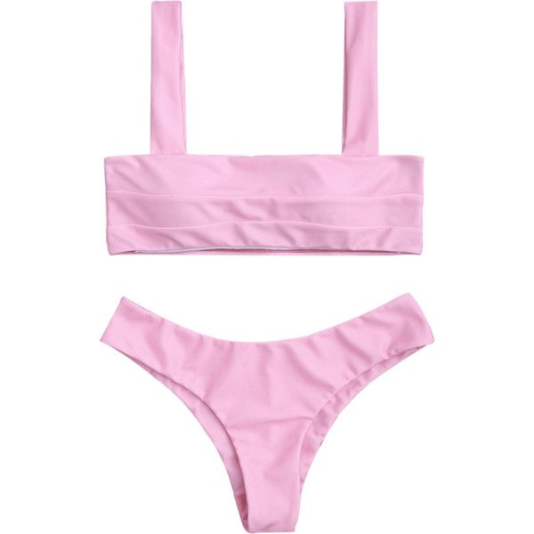 Bandeau Padded Bikini Top And Bottoms (81630 PYG) ❤ liked on Polyvore featuring swimwear, bikinis, bikini swimwear, pink bandeau bikini top, padded bikini tops, bikini two piece and bandeau swimsuit top