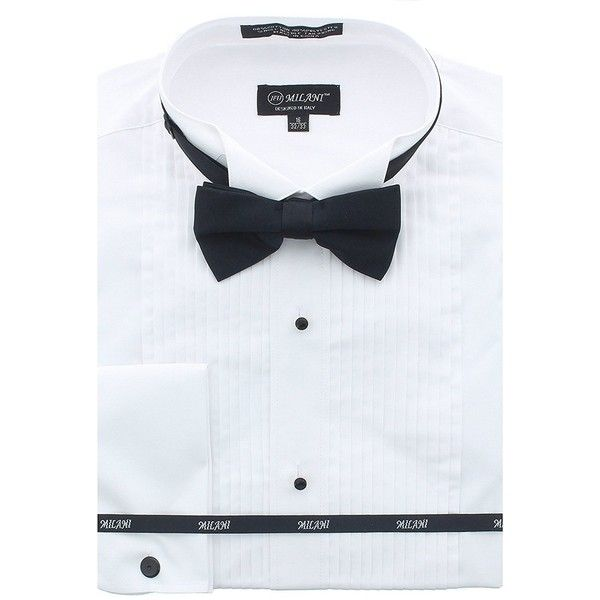 Milani Men's Tuxedo Shirts With French Cuffs And Bow Tie ($18) ❤ liked on Polyvore featuring men's fashion, men's clothing, men's shirts, mens clothing, mens tux shirt, men's apparel, mens tuxedo shirt and mens french cuff shirts