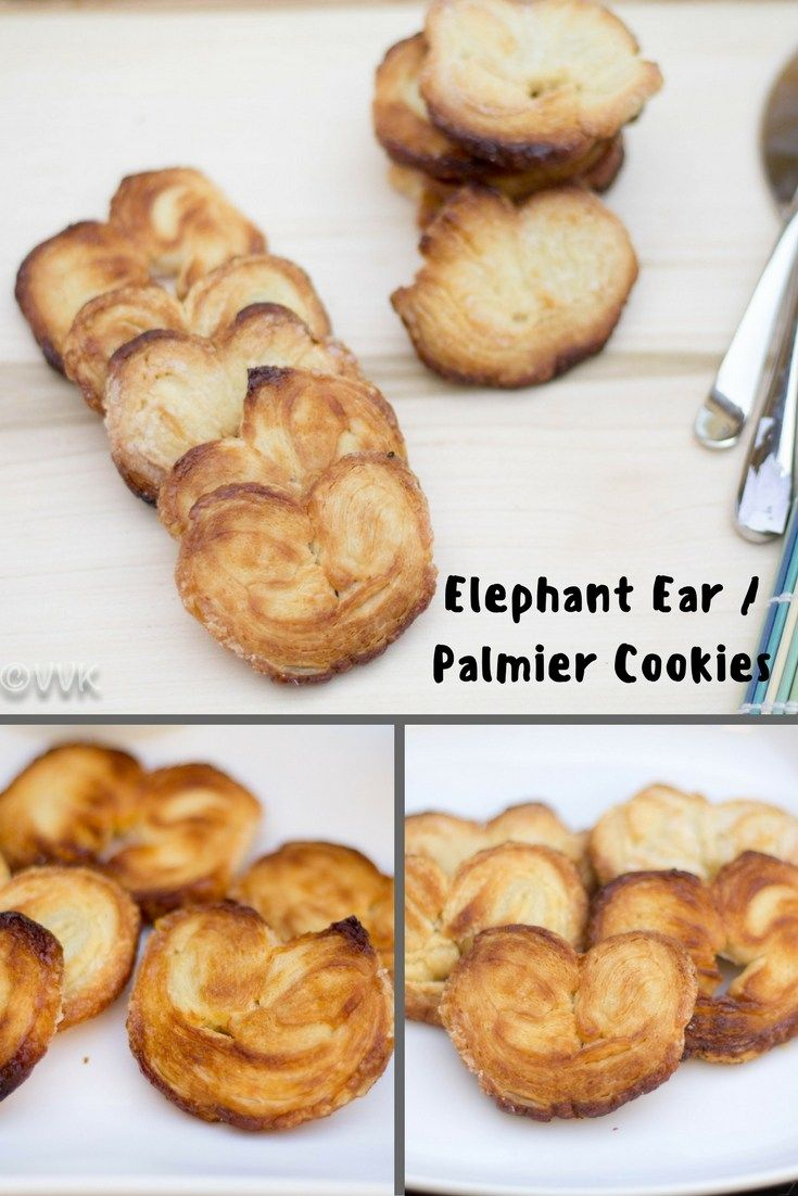 Elephant Ear Palmier Cookies with puff pastry.