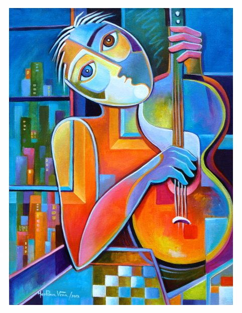Original Abstract  Painting Cubism Acrylic on canvas Marlina Vera Fine Art Gallery Modern Artwork The City Guitarist