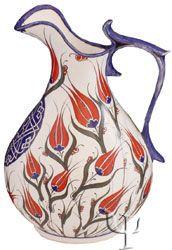 Iznik Design Ceramic Decanter - Turkish ceramics, tulip design