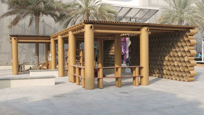 Abu Dhabi Art Pavilion made from cardboard tubes By Monica on Tue Dec 10 2013