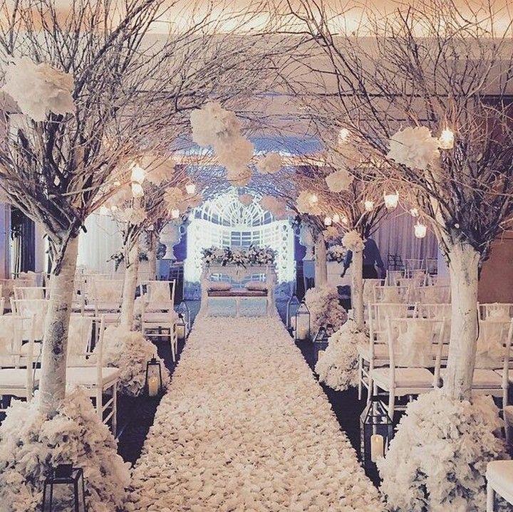 ❤62 extravagant white indoor wedding ceremony 40