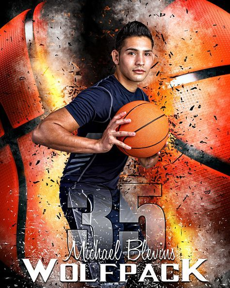 Sports Poster Photo Template For Basketball - Basketball Inferno