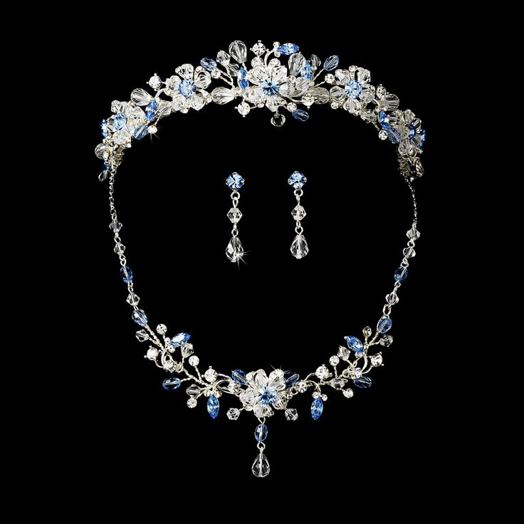 quinceanera earrings blue wedding tiara and jewelry set beautiful 7770