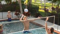 NEW Pool Volleyball Net - No more heavy bases to worry about. Use with our pool fence to keep the ball in the pool and create your very own pool volleyball arena!  http://protectachild.com/products/pool-volleyball-net/