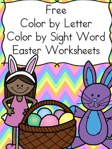 Free Easter Worksheets - 2 Color by letter, 2  color by sight word.