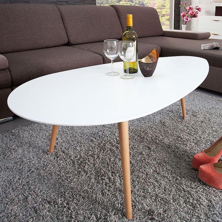 Retro Couchtisch SCANDINAVIA 115cm Weiss Buche Nierenfrmig Beistelltisch Tisch