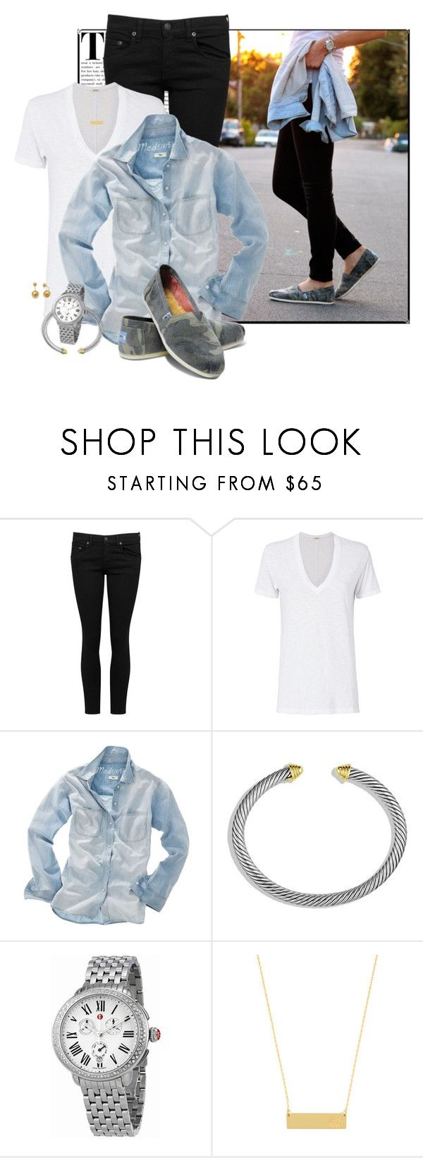 """""""Camo Toms"""" by fashionista88 ❤ liked on Polyvore featuring rag & bone/JEAN, Monrow, Madewell, David Yurman, Michele, BaubleBar, Allurez, BloggerStyle, SimpleStyle and toms"""