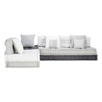 Banco esquinero modulable de 6 plazas de algodón gris y blanco - Honfleur