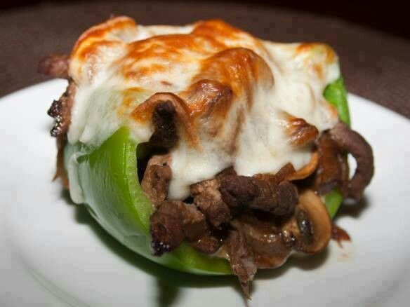 Philly cheesesteak stuffed pepper . a low carb meal .