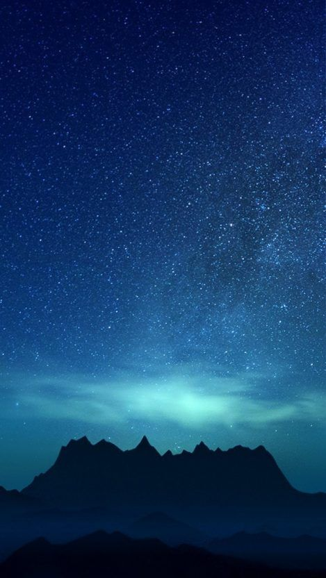 Night Sky Mountain Stars View iPhone Wallpaper New