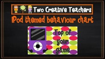 Two Creative Teachers - iPod theme  Behaviour Management Chart This product contains posters that include the words: outstanding effort, awesome job, great work, ready to learn, stop and think, danger zone, teacher choice and parent contact. If you like the theme and have different words in mind, please email us and we can adapt and send you a copy.How To Use This Resource:Display this in the classroom or hang it in the room.