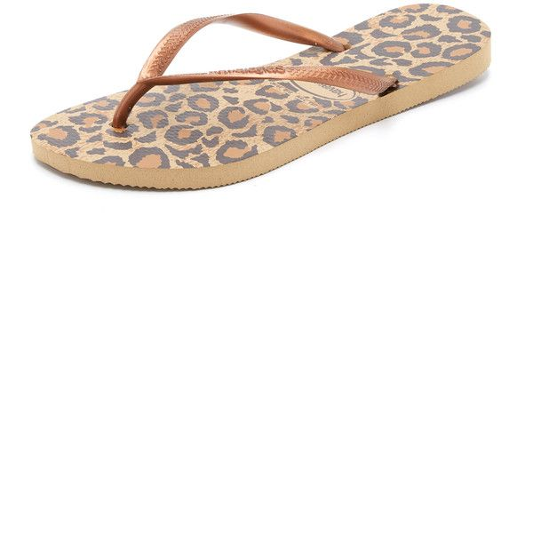 Havaianas Slim Animals Flip Flops (180 VEF) ❤ liked on Polyvore featuring shoes, sandals, flip flops, havaianas sandals, rubber sole flip flops, leopard print flip flops, leopard print sandals and leopard print shoes