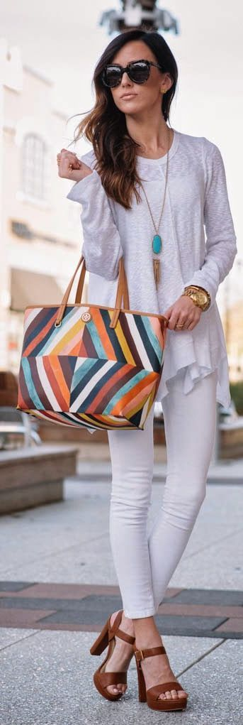 White On White with Pop Colors Bag | Spring Street...