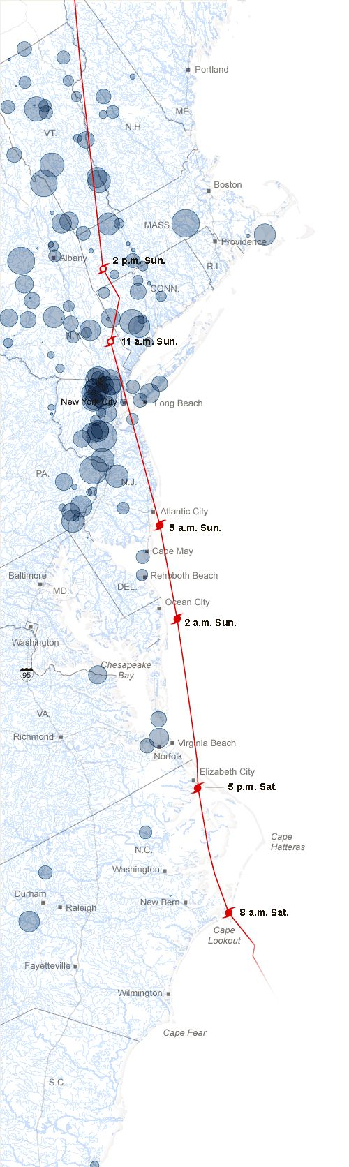 Flooding, Power Failures, Rainfall and Damage From Hurricane Irene (NYTimes, via @albertocairo)