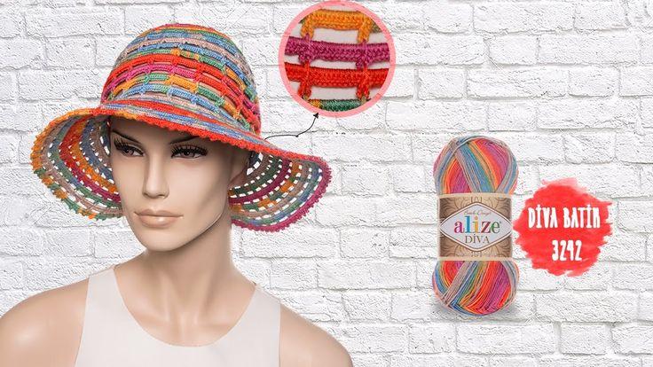 Tığ işi ile yazlık şapka - Summer hat with crochet - YouTube