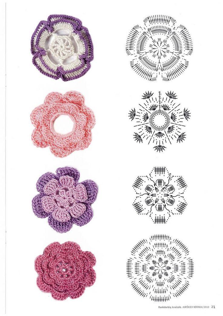 Irish Crochet Flower Motif Chart Pattern Diagram Crochet And Nice