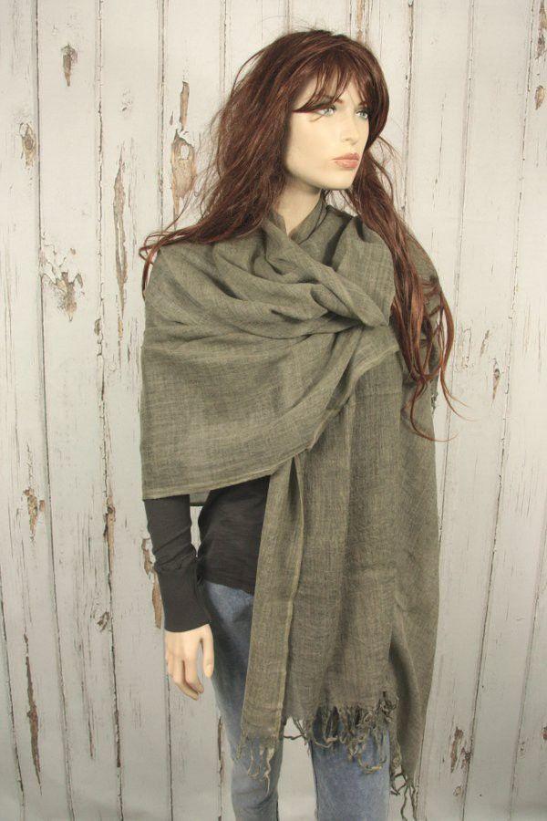Tif-Tiffy basic wollen shawl army als omslagdoek